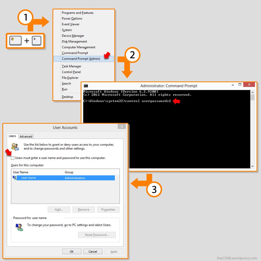 windows 8 auto login without password